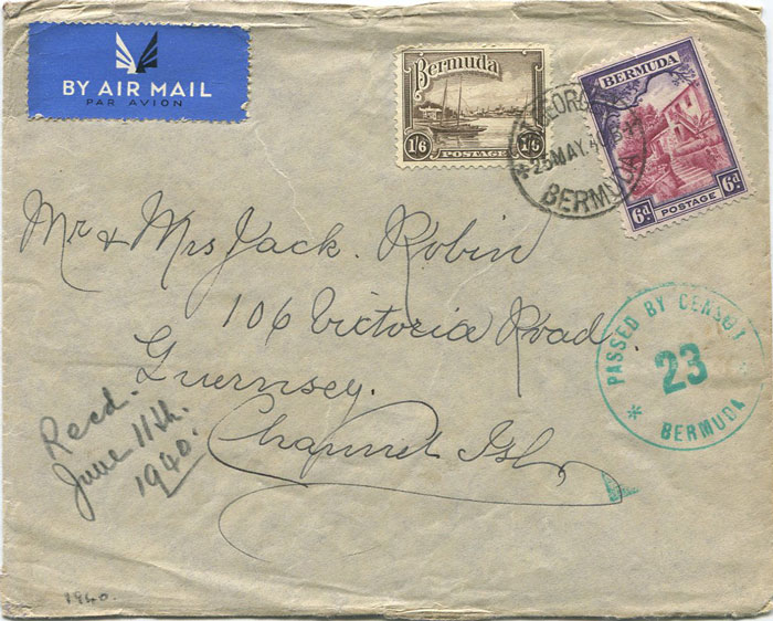 1940 (25 May) Bermuda 2/- franking on airmail cover to Guernsey
