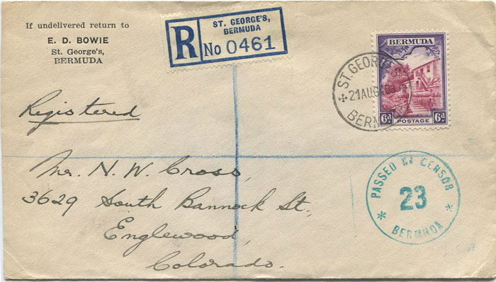 1940 (21 Aug) Bermuda 6d franking on registered cover to U.S.A.