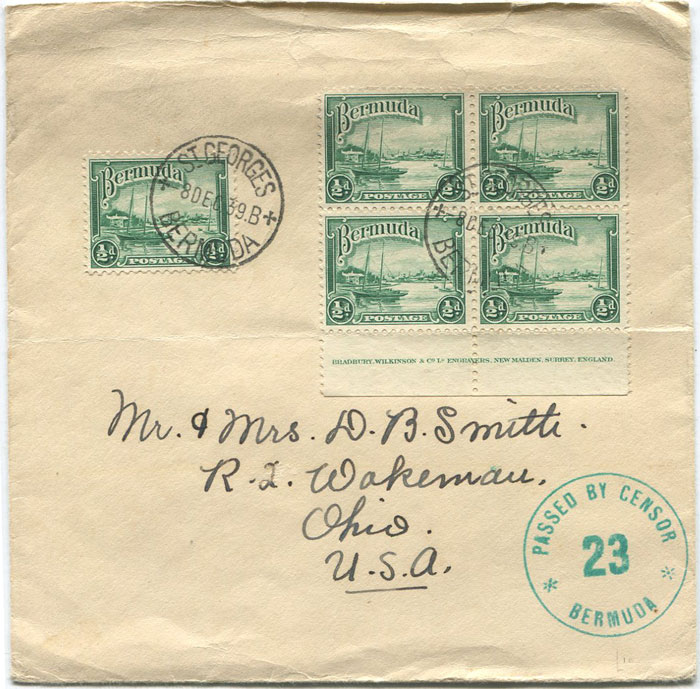 1939 (8 Dec) Bermuda 2½d franking on cover to U.S.A.