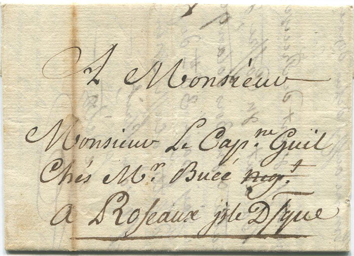 1777 (28 Jun) EL from Martinique addressed to Captain Gill in Roseau, Isle D/que.