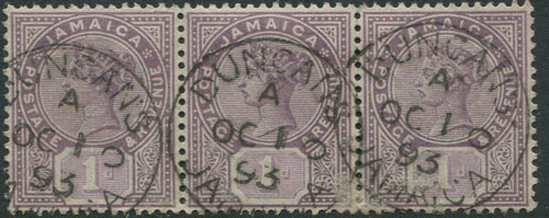 1889-91 Jamaica 1d (SG27) strip of 3 with fine DUNCAN