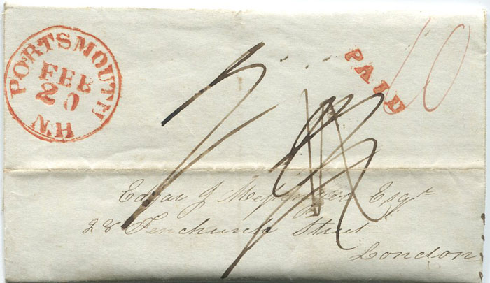 1843 (20 Feb) PORTSMOUTH N.H. red cds