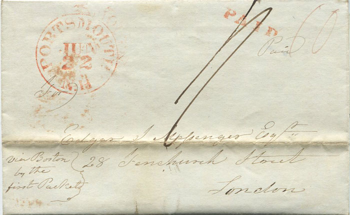 1843 (22 Jun) PORTSMOUTH N.H. red cds