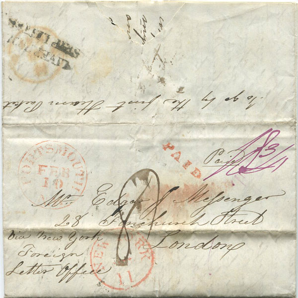 1841 (10 Feb) PORTSMOUTH N.H. red cds