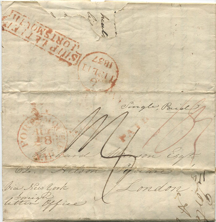 1837 (18 Aug) PORTSMOUTH N.H. red cds