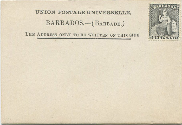 1881 Barbados postal stationery second type formular card