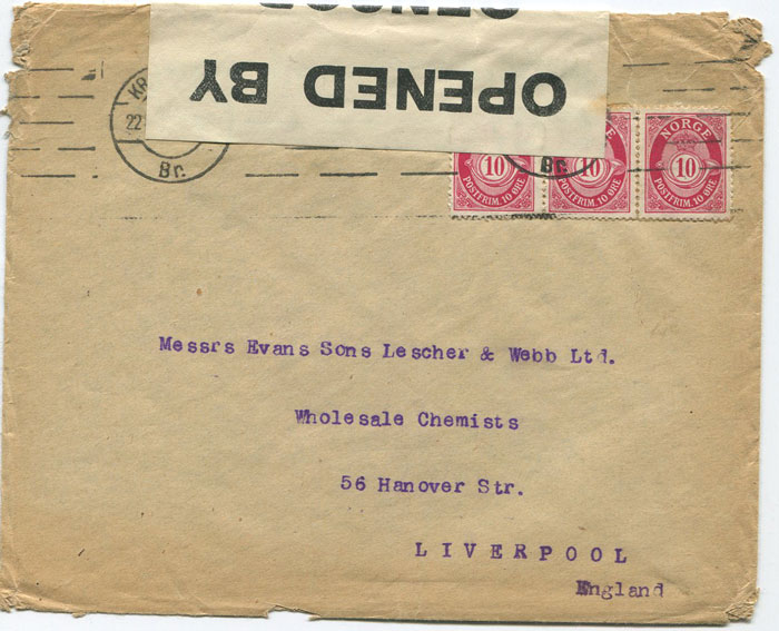 1916 Norway cover to Liverpool censored on arrival with OPENED BY CENSOR 209 label