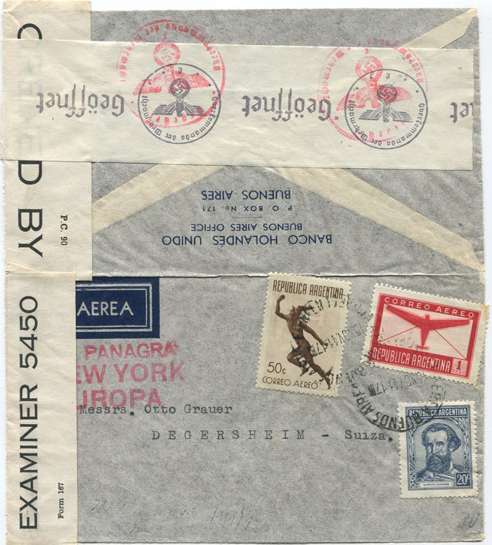 1941 (15 Nov) Argentina airmail cover to Switzerland