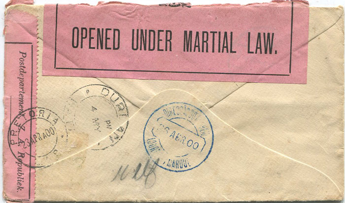 1900 Orange Free State cover to P.O.W. in Simonstad, Cape Town
