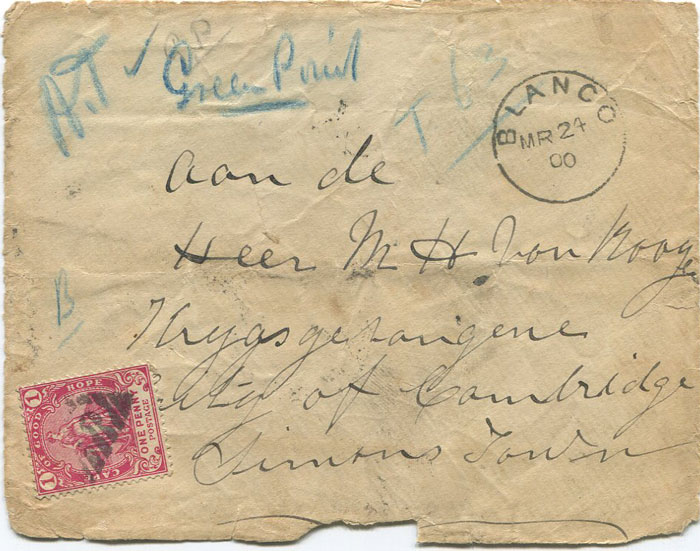 1900 COGH cover to Boer P.O.W. at Simons Town, Cape Town