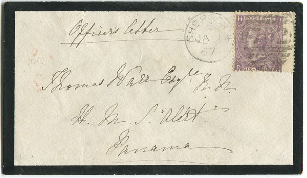 1867 Officers letter from England to Panama