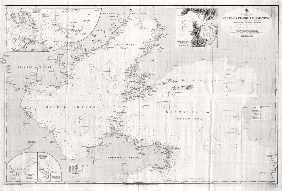 ADMIRALTY CHARTS China East Coast. Gulfs of Pe-Chili & Liau-Tung and northern portion of the Yellow Sea. - Surveyed by Comr. J. Ward & Lieut. C. Bullock, R.N. assisted by Officers of H.M.S. Actoeon & Dove, 1860.