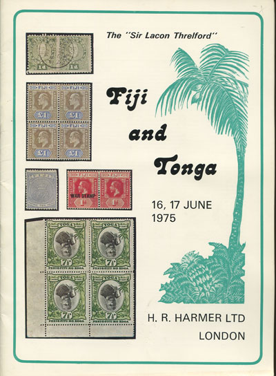1975 (16-17 Jun) Sir Lacon Threlford collections of Fiji and Tonga.