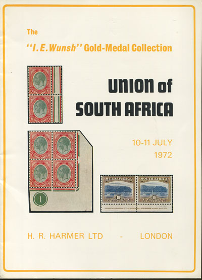 1972 (10-11 July) I.E. Wunsh collection of Union of South Africa.
