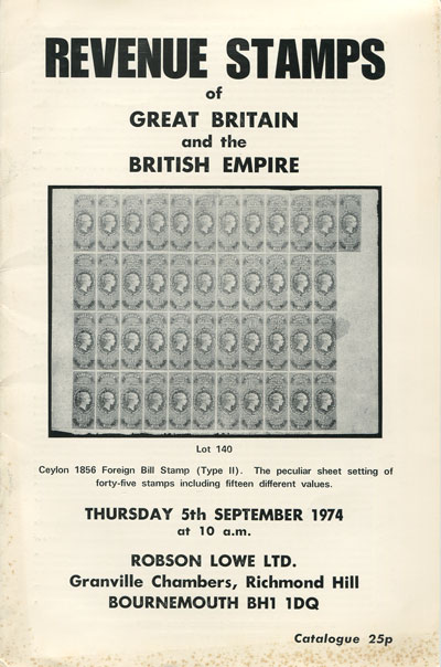 1974 (5 Sep) Revenue stamps of Great Britain and the British Empire.