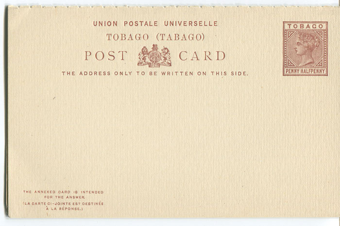 1883 Tobago postal stationery 1½d postal reply card