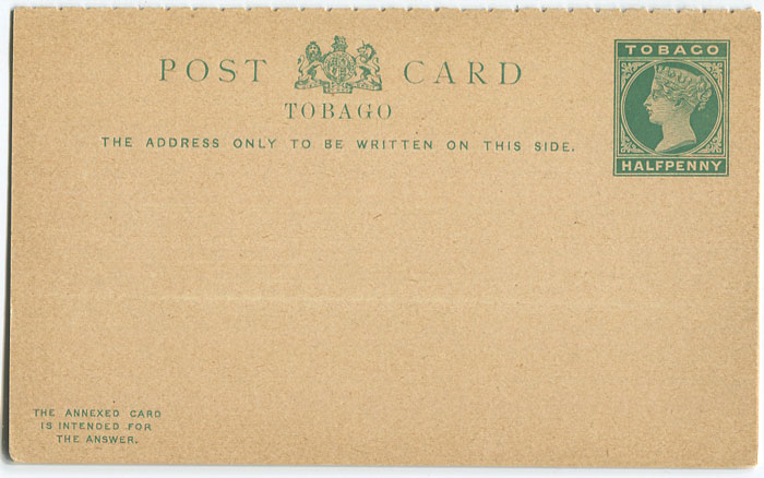 1892 Tobago postal stationery postal reply card ½d