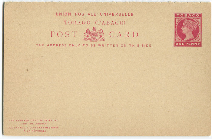 1892 Tobago postal stationery postal reply card 1d