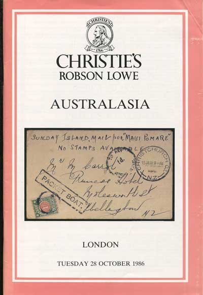 1986 (28 Oct) Australasia. - Includes Michael Burberry New Zealand postal history, William Mitchell N.S.W. and Purves Victoria.