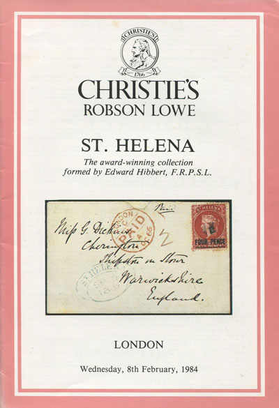 1984 (8 Feb) St Helena. Collection formed by Edward Hibbert.