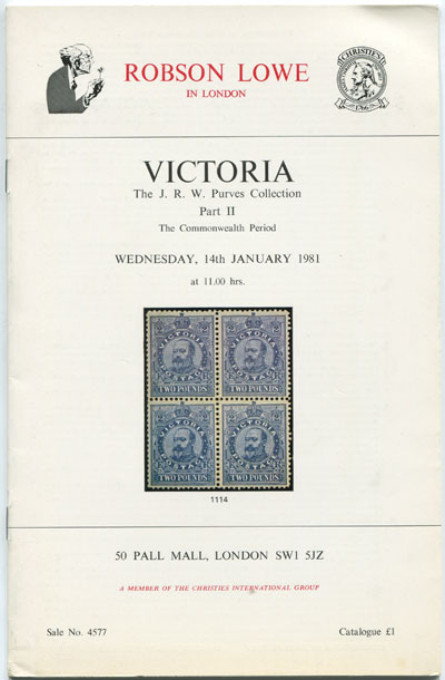 1981 (14 Jan) Victoria. The J.R.W. Purves collection. Part II.