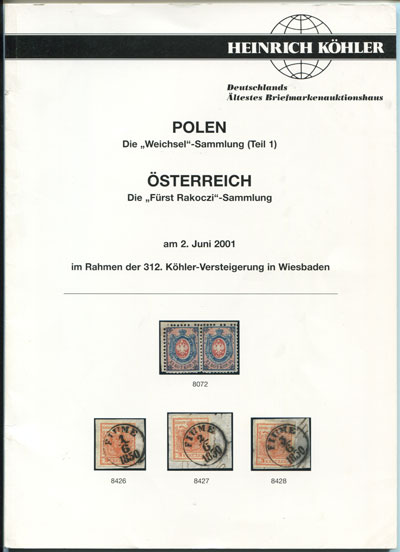 2001 (2 June) Weichsel collection of Poland and Furst Rakoczi Austria.