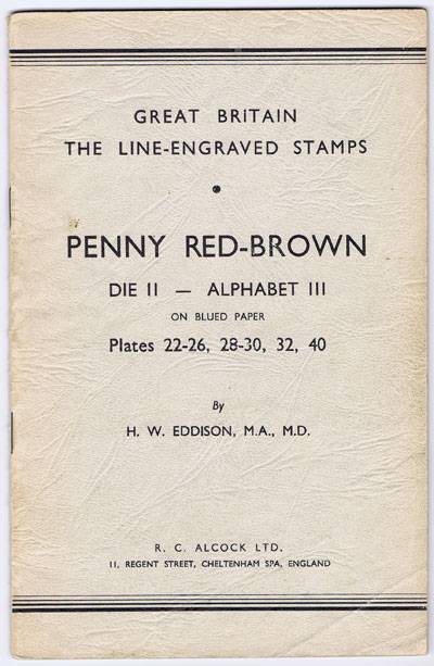 EDDISON H.W. Penny Red-Brown Die II - Alphabet III on blued paper. Plates 22-26, 28-30, 32, 40. - Great Britain Line Engraved Stamps.