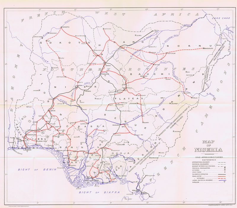 WATERLOW & SONS Map of Nigeria.