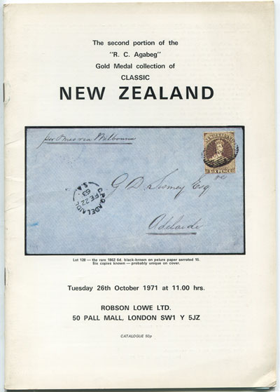 1971 (26 Oct) R.C. Agabeg Gold Medal collection of classic New Zealand. - Second portion.
