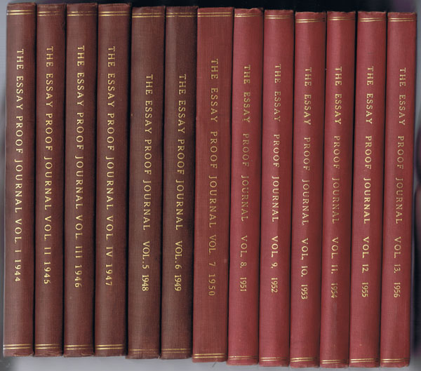 BRAZER Clarence W. The Essay Proof Journal. - Vols 1 - 13