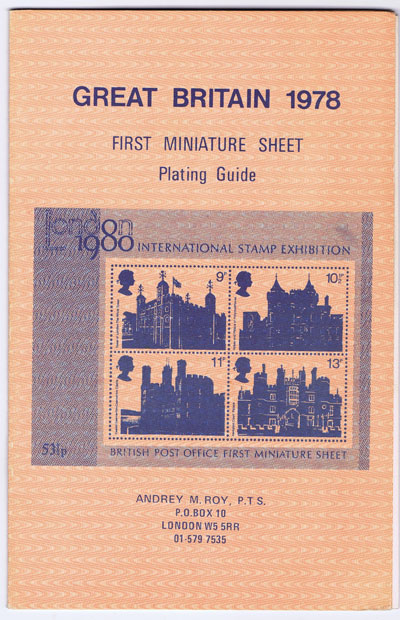 ROY Andrey M. Great Britain 1978 First Miniature Sheet Plating Guide.