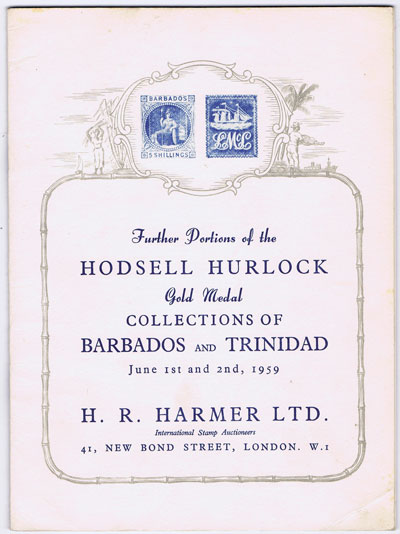 1959 (1-2 June) Further portions of the Hodsell Hurlock collections of Barbados and Trinidad.