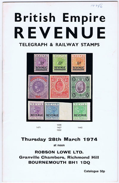1974 (28 Mar) British Empire Revenue Telegraph & Railway stamps.
