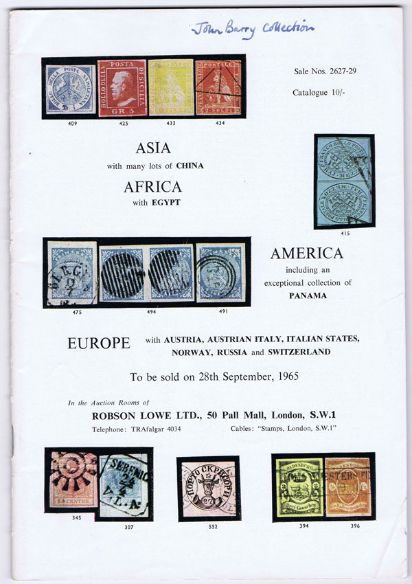 1965 (28 Sep) Foreign including China, Egypt, Panama, Austrian Italy, Italian States and Russia formed by John H. Barry.
