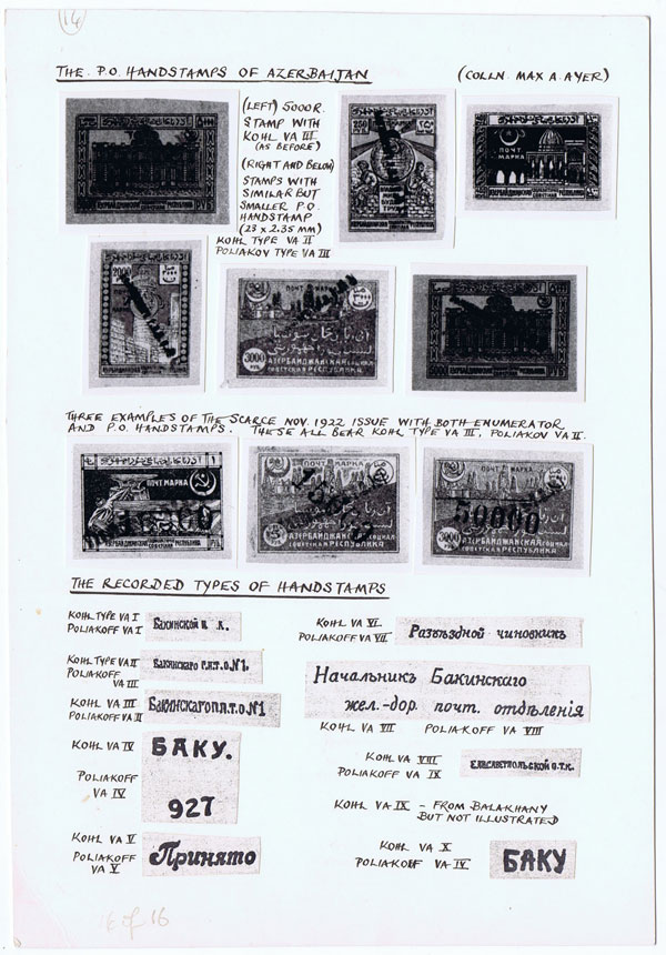 ASHFORD P. Azerbaijan Philatelic notes.