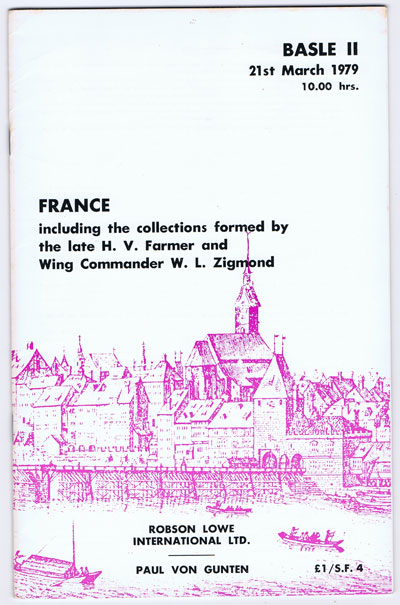 1979 (21 Mar) France - including the collections of  the late H.V. Farmer and Wing Commander W.L. Zigmond.