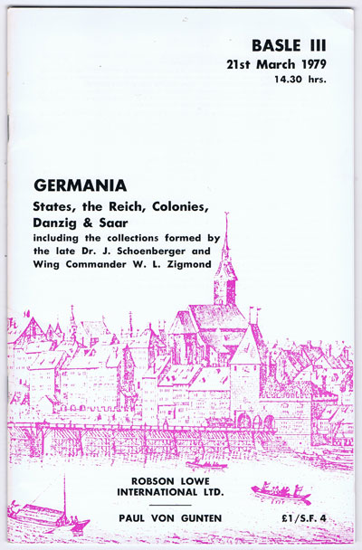 1979 (21 Mar) Germania. States, the Reich, Colonies, Danzig & Saar. - Including the collections of  the late Dr J. Schoenberger and Wing Commander W.L. Zigmond.
