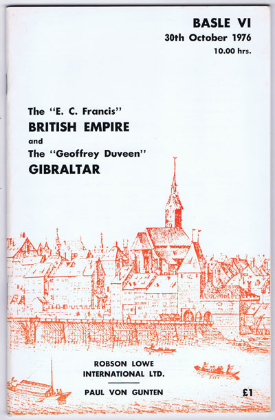 1976 (30 Oct) E.C. Francis British Empire and the Geoffrey Duveen Gibraltar.