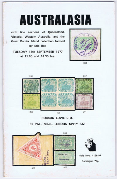 1977 (13 Sep) Australasia incl. Great Barrier Island collection formed by Eric Roe.