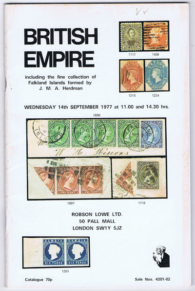 1977 (14 Sep) British Empire incl. J.M.A. Herdman Falkland Islands.