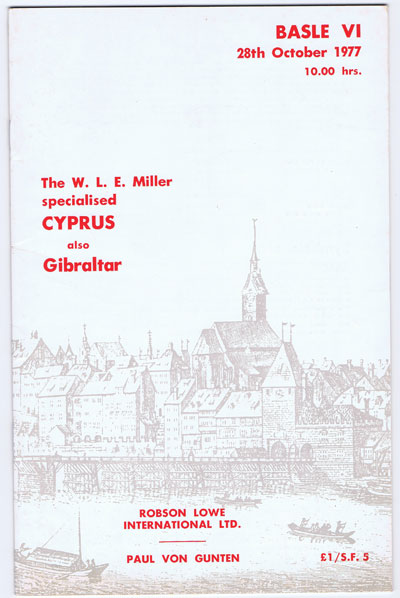1977 (28 Oct) W.E. Miller specialised Cyprus also Gibraltar.