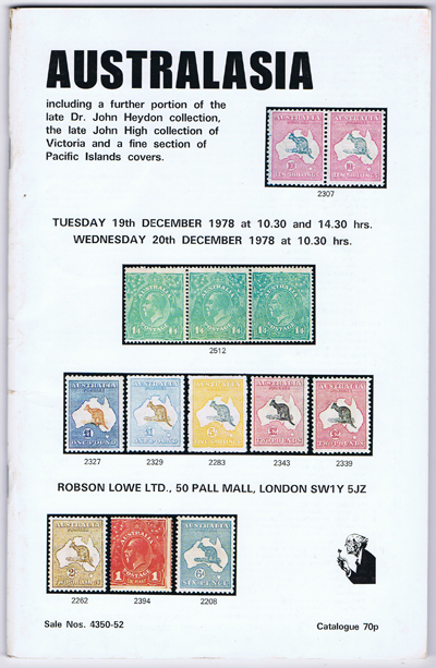 1978 (19 Dec) Australasia incl. Dr John Heydon collection, John High collection of Victoria..