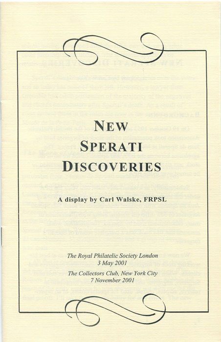 WALSKE Carl New Sperati Discoveries.