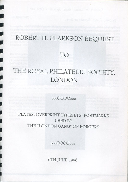 CLARKSON Robert H. Plates, Overprint Typesets, Postmarks used by the