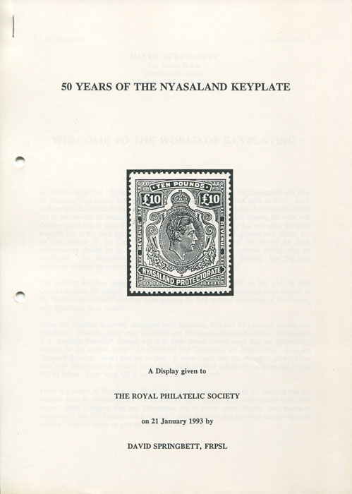SPRINGBETT David 50 Years of the Nyasaland Keyplate.