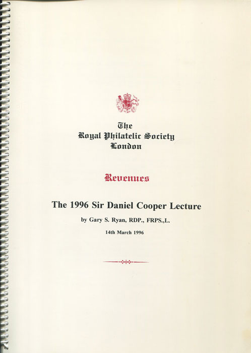 RYAN Gary S. Revenues. The 1996 Sir Daniel Cooper Lecture.