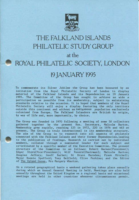 ANON The Falkland Islands Philatelic study group at the Royal Philatelic Society, London.