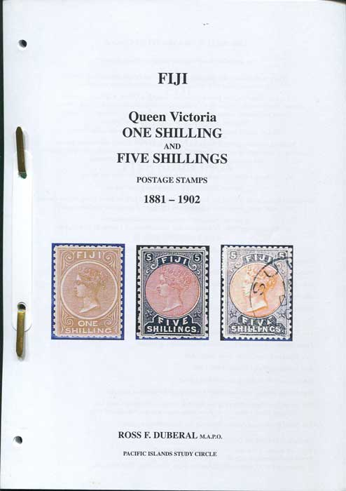 DUBERAL Ross Fiji Queen Victoria One Shilling and Five Shillings postage stamps. 1881-1902.