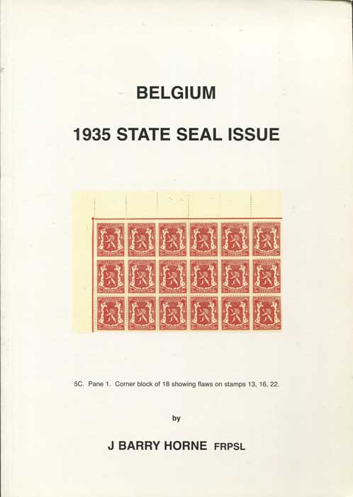 HORNE J. Barry Belgium: 1935 State Seal Issue.