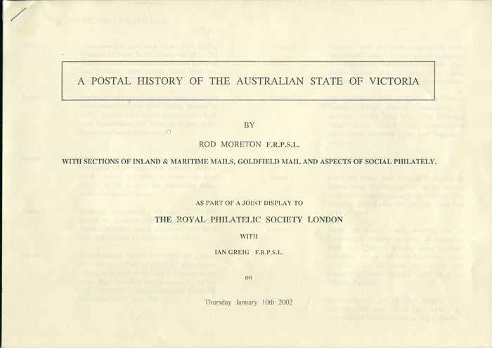 MORETON Rod A Postal History of the Australian State of Victoria